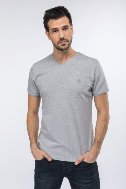 Tee-shirt col V gris pour homme