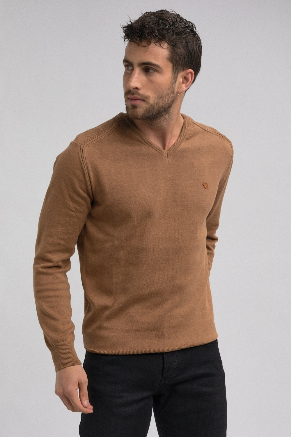 pull doux col V pour homme