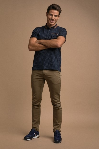 look homme polo marine chino camel
